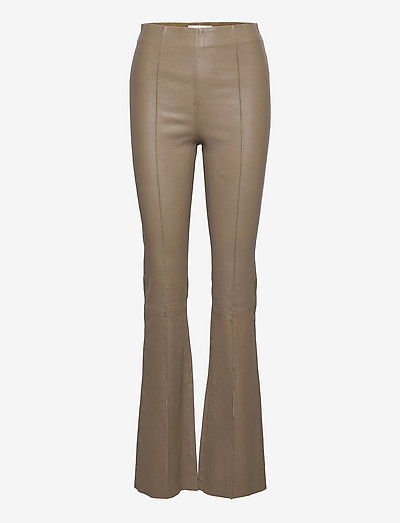 Floral Pant Leather - læderbukser - simply taupe