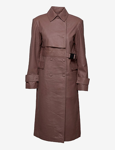 Piretta Trench Leather - trenchcoats - fawn