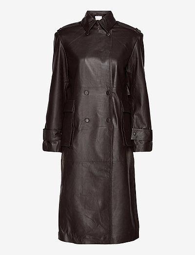 Pirene Coat Leather - trenchcoats - ganache