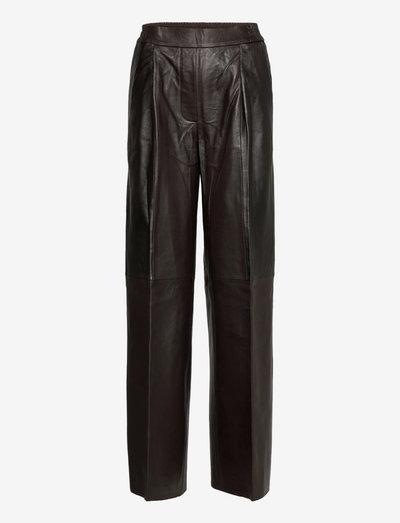Duchesse Pants Contrast Leather - læderbukser - ganache