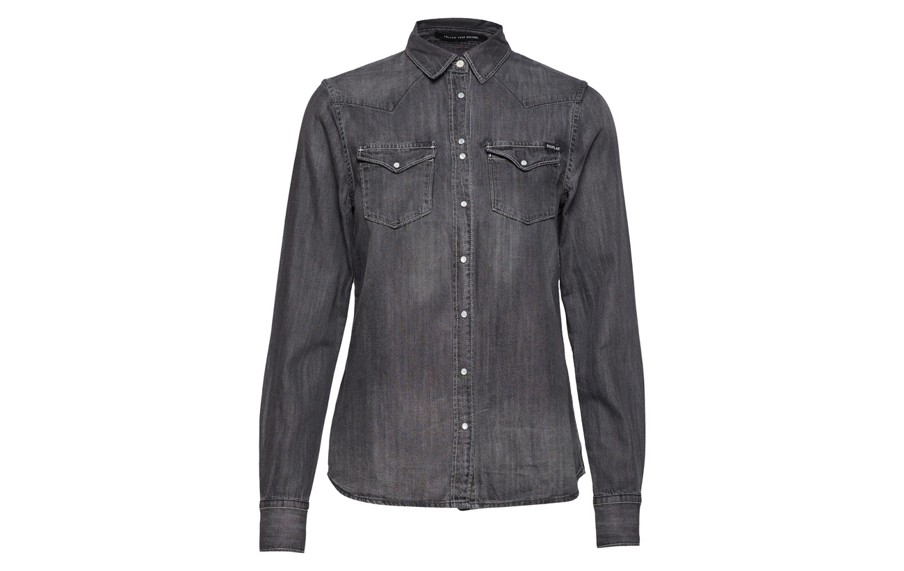 31 Replay Shirt Coton Medium Grey 69 Lyocell wP7qFPUy