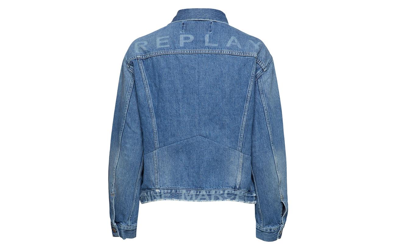 Blue Medium Jacket 100 Replay Coton q6PY4Rx