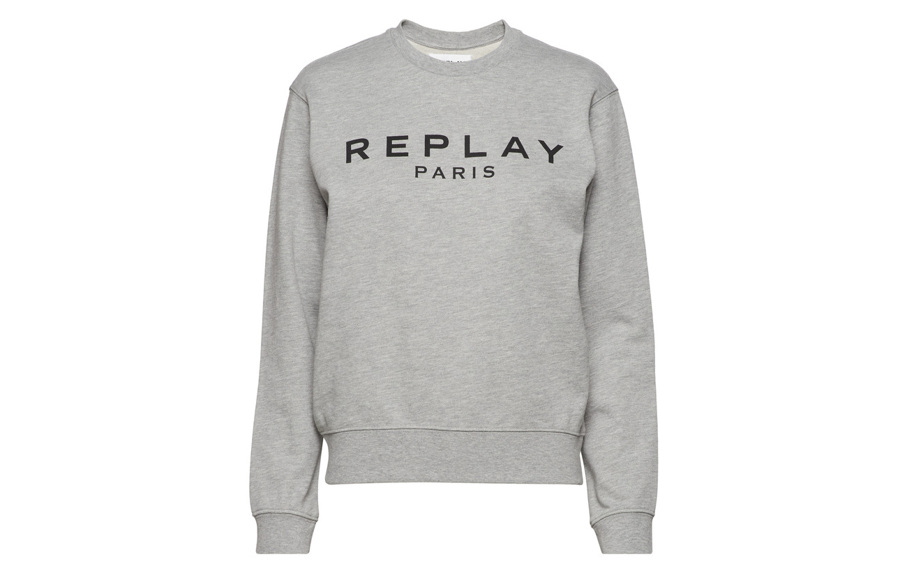 100 Coton Replay Grey Sweatshirt Light Melange IqzTfzB6xw