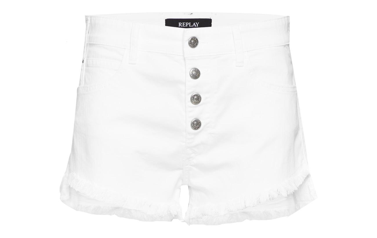 Elastane Coton 2 98 Replay White Shorts Denim wxqSnFTO