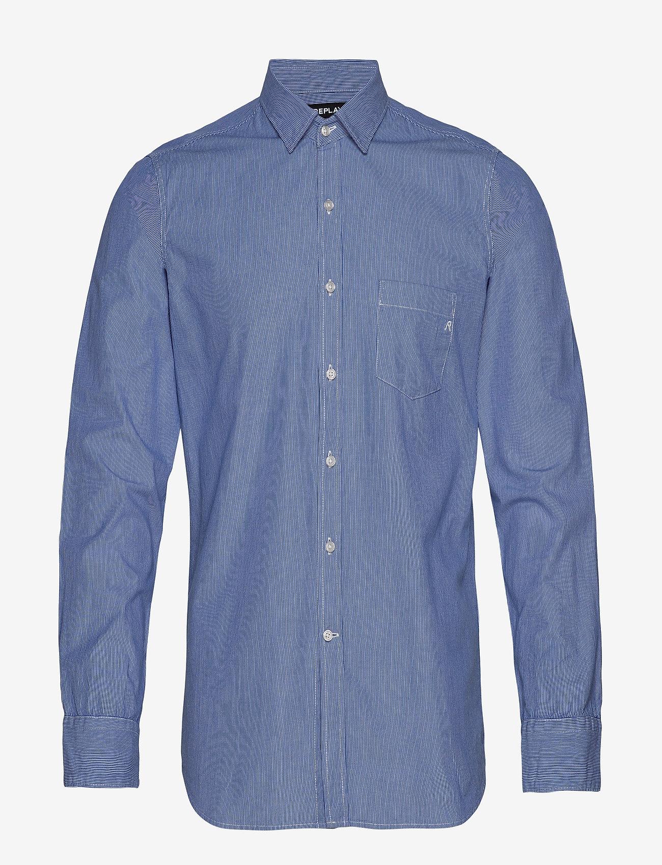 Replay Yarn Dyed Micro Striped Cotton - Skjortor Light Blue/white