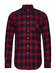 COTTON FLANNEL CHECK - DARK BLUE/RED