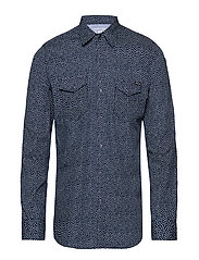 Shirt - BLUE/WHITE MICROFLOWERS