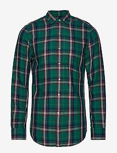 COTTON/TENCEL FLANNEL CHECK - checkered shirts - green/blue