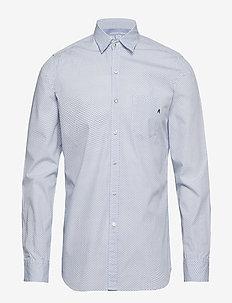 Shirt - WHITE/LT BLUE MICROFLOWERS