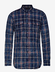 INDIGO FLANNEL CHECK - NAVY/RED WOOD/WHITE