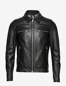 Leather jacket - leather - black