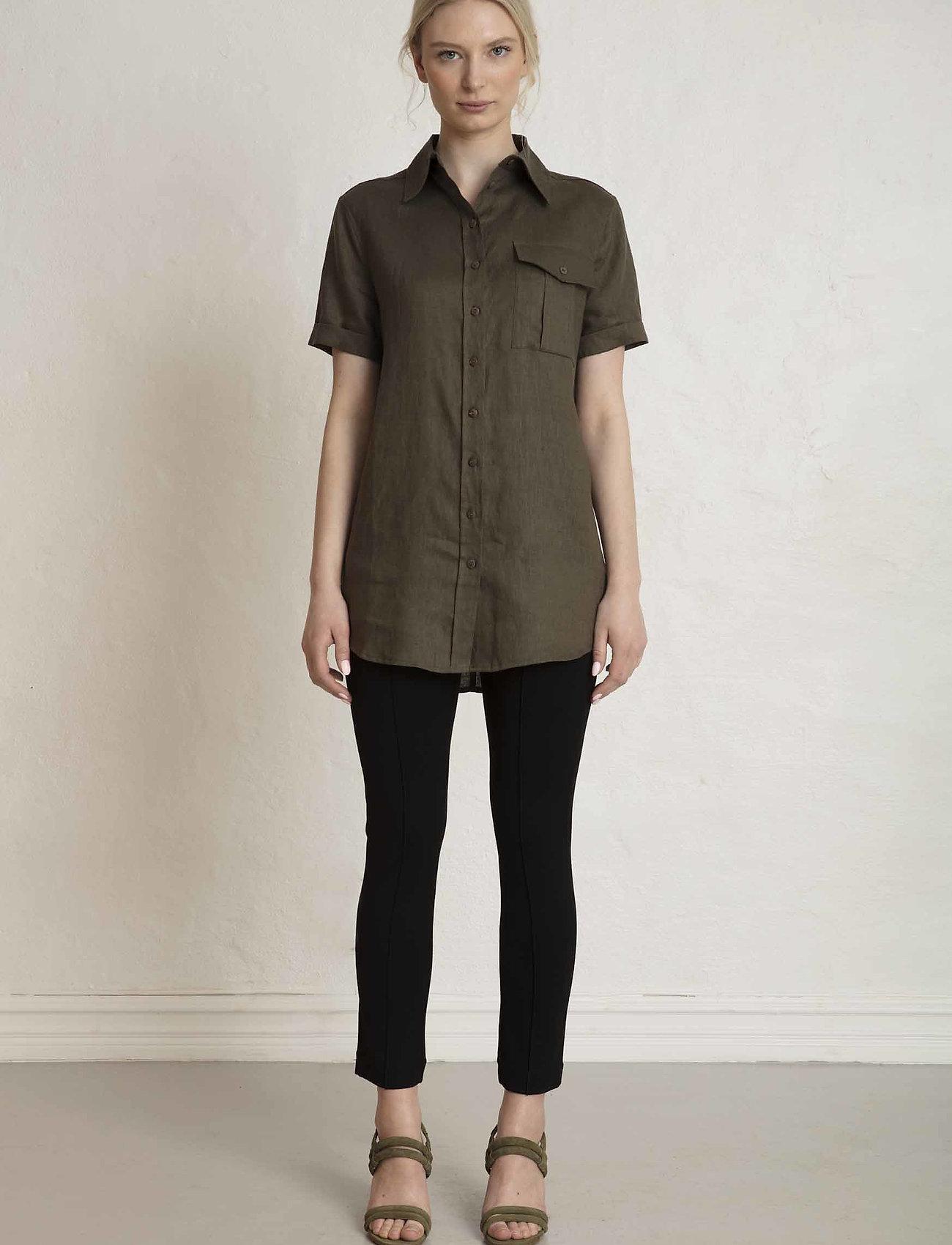 Residus - PINE LINEN SHIRT - overhemden met korte mouwen - dark pine - 0