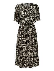 Bella Printed Viscose Dress - BLACK