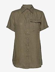 Residus - PINE LINEN SHIRT - overhemden met korte mouwen - dark pine - 1