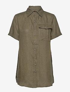 PINE LINEN SHIRT - koszule z krótkim rękawem - dark pine