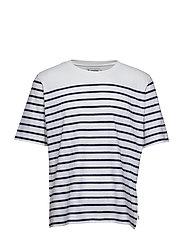 Mid sleeve stripes. - WHITE/NAVY