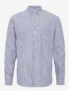 Pop over shirt. - koszule lniane - blue