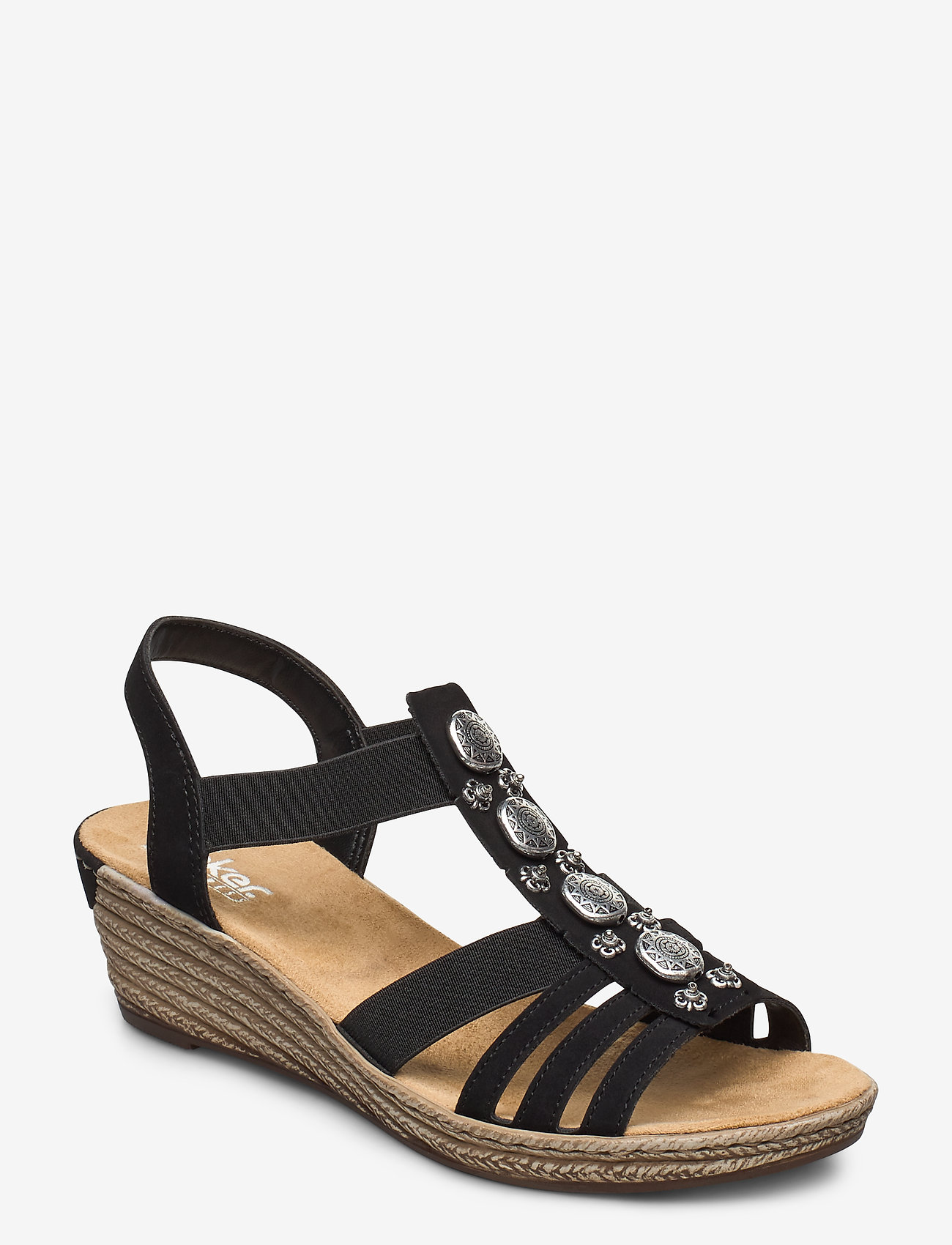 Rieker - 624B4-00 - heeled espadrilles - black
