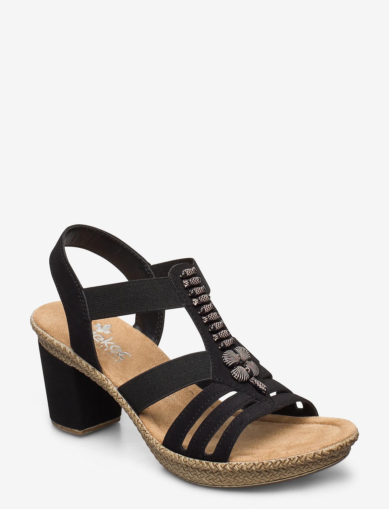 Rieker - 66506-00 - heeled sandals - black
