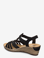 Rieker - 624B4-00 - heeled espadrilles - black - 2