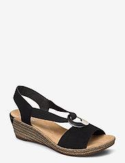 Rieker - 624H6-00 - heeled espadrilles - black - 0