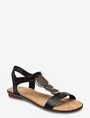 Rieker - 64278-00 - flat sandals - black combination - 0