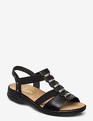 Rieker - 64580-00 - flat sandals - black - 0
