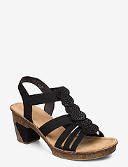 Rieker - 69702-00 - heeled sandals - black - 0