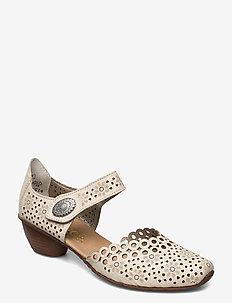 43753-00 - högklackade sandaler - beige