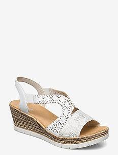 61916-80 - høyhælte sandaler - weiss