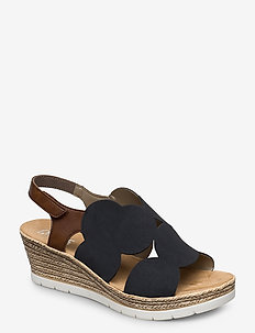 61919-14 - espadrilles met sleehak - blue combination