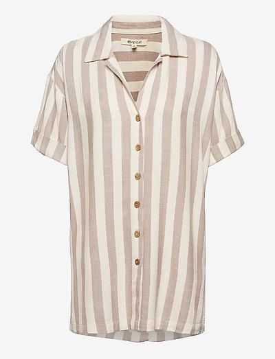 ASHORE STRIPE SHIRT - kortærmede skjorter - taupe