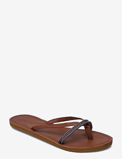 COCO - flade sandaler - navy/brown