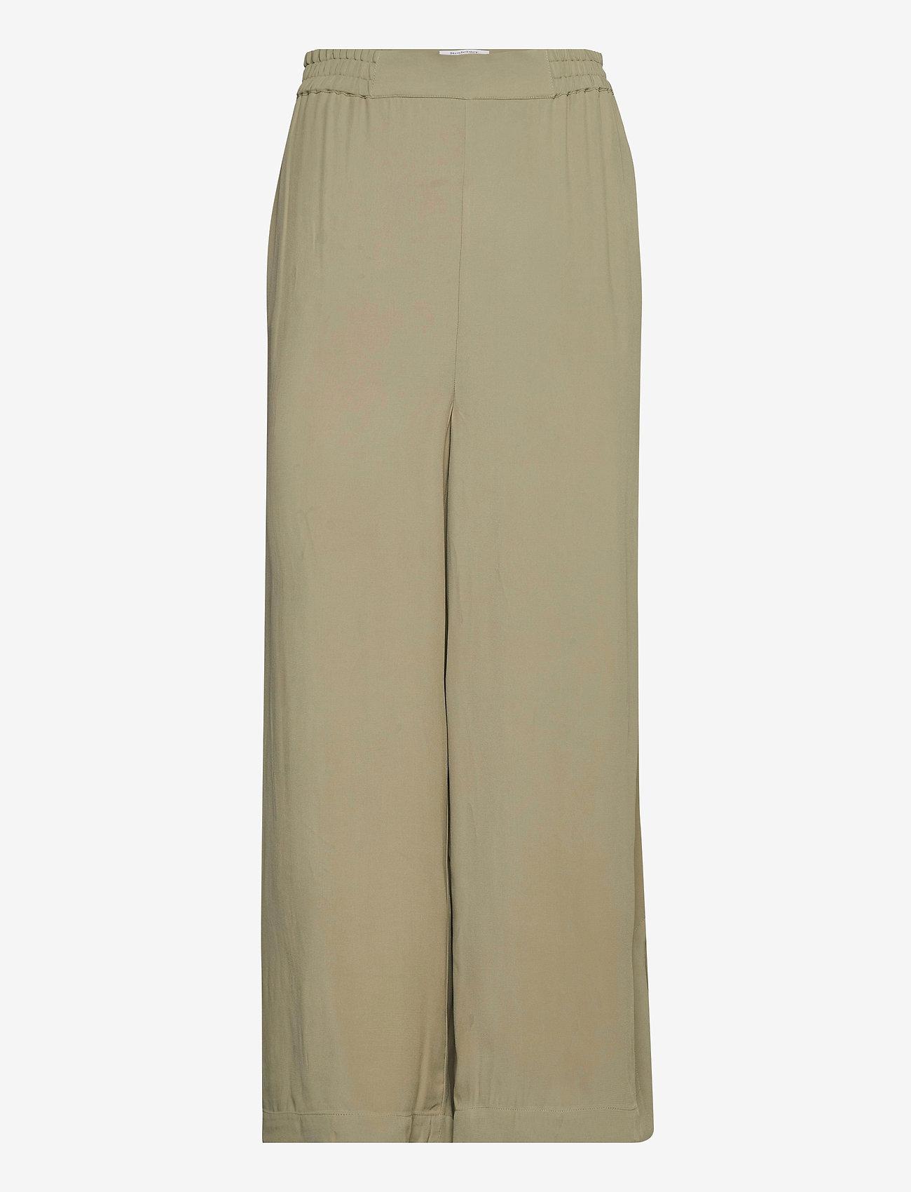 RODEBJER - RODEBJER SIGRID TWILL - bukser med brede ben - olive leaf - 0