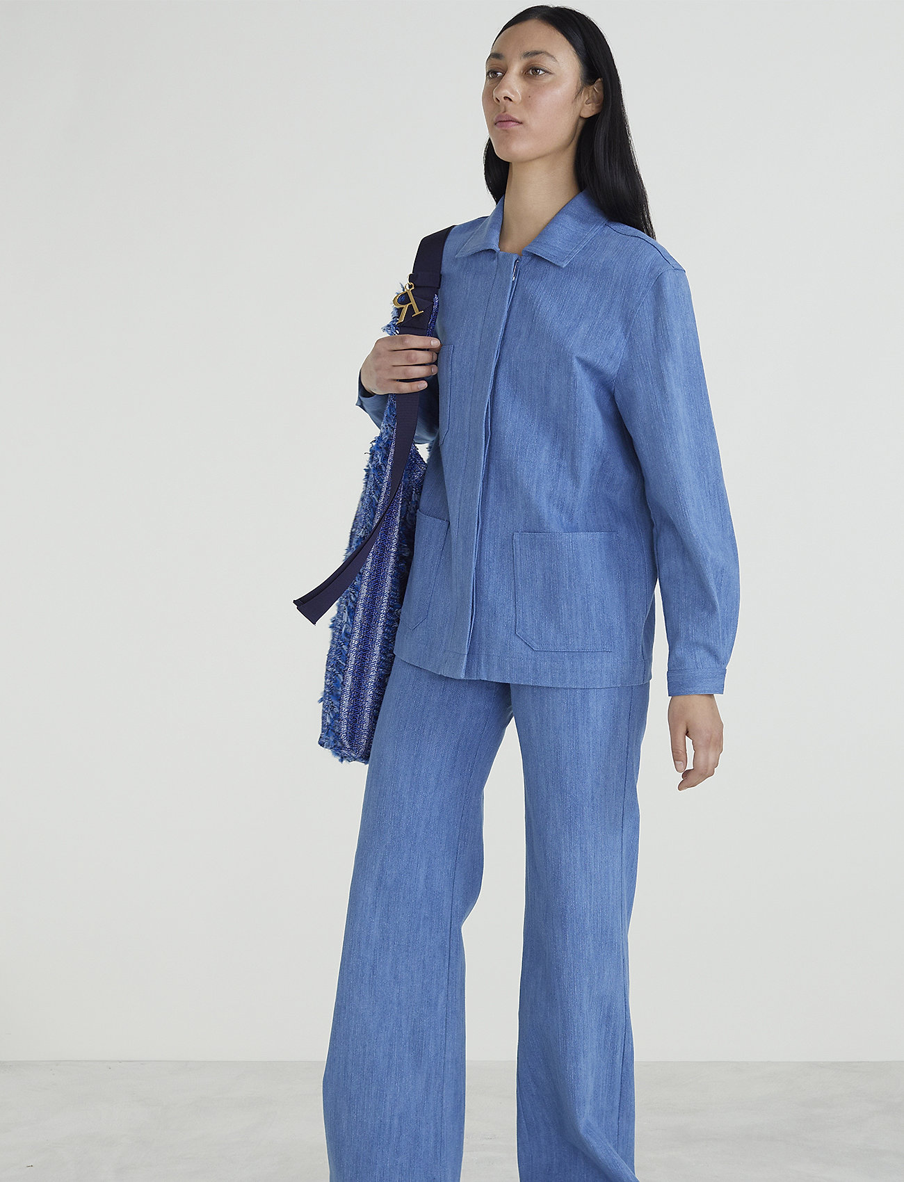 RODEBJER - PEACE WORKWEAR - leveälahkeiset housut - denim blue - 0