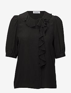 XILLA SILK - short-sleeved blouses - black