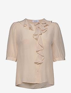 XILLA SILK - short-sleeved blouses - creamy pink