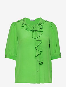 RODEBJER XILLA SILK - short-sleeved blouses - emerald green