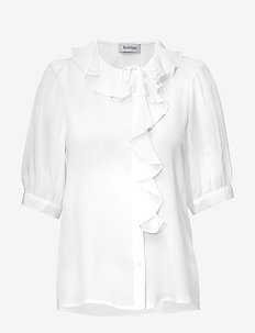 XILLA SILK - short-sleeved blouses - off white