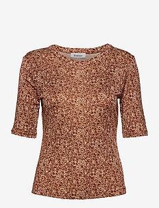 RODEBJER HARMONY SWIRL - short-sleeved blouses - raw umbra