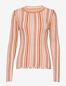 RODEBJER VALA STRIPE - striped t-shirts - faded terracotta