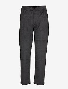 ESZTI SUEDE - straight leg trousers - black
