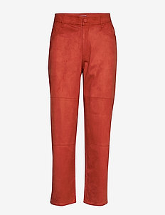 ESZTI SUEDE - straight leg trousers - burnt sienna