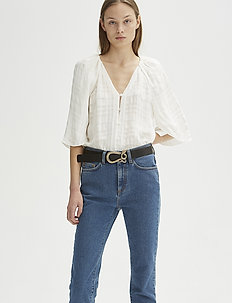 RODEBJER LARA CHECK - blouses à manches longues - optic white