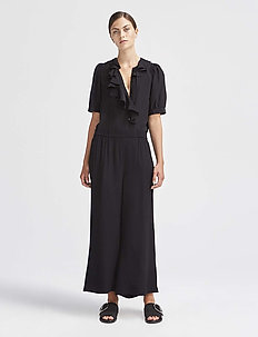RODEBJER SIGRID TWILL - wide leg trousers - black