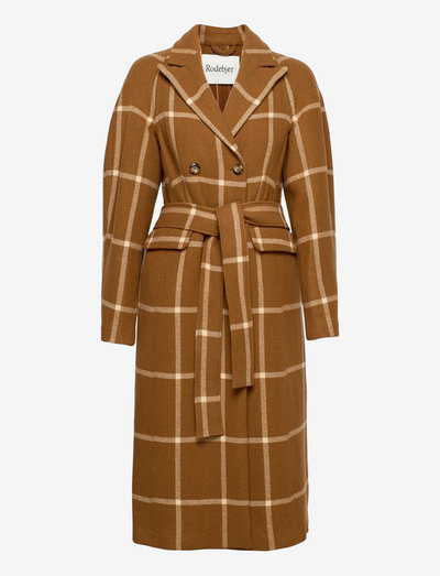 RODEBJER DALIA CHECK - wool coats - dark camel