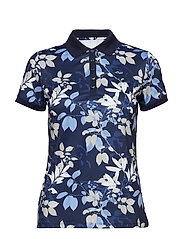 LEAF POLOSHIRT - NAVY LEAVES