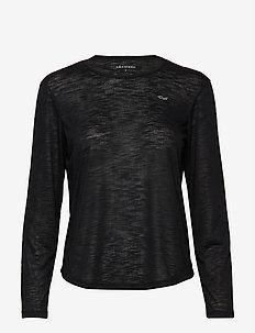 Sheer Long Sleeve Top - BLACK