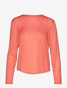 Sheer Long Sleeve Top - CORAL