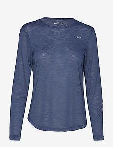 Sheer Long Sleeve Top - DUSTY BLUE